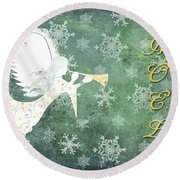 Noel Christmas Card Round Beach Towel