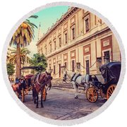 Noon At Cathedral Square. Seville Round Beach Towel