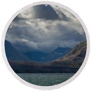 Noontide At St. Mary Lake Round Beach Towel