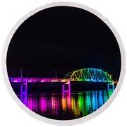 Norbert F. Beckey Bridge In Rainbow Lighting Round Beach Towel