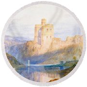 Norham Castle An Illustration To Marmion By Sir Walter Scott Round Beach Towel