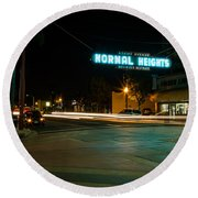 Normal Heights Neon Round Beach Towel by John Daly