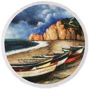 Normandy Coast - Landscape Oil Round Beach Towel