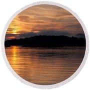 Norris Lake Sunrise Round Beach Towel