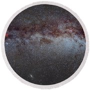 North America Nebula The Milky Way From Cygnus To Perseus And Andromeda Galaxy Round Beach Towel