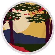 North American Landscape Round Beach Towel