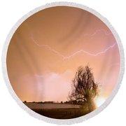 North Boulder County Colorado Lightning Strike Round Beach Towel