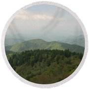 North Carolina Blue Ridge Mountains Round Beach Towel