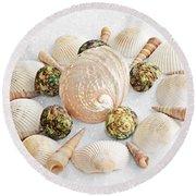 North Carolina Circle Of Sea Shells Round Beach Towel