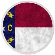 North Carolina Flag Round Beach Towel by World Art Prints And Designs