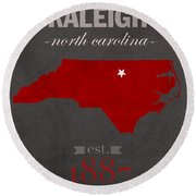 North Carolina State University Wolfpack Raleigh College Town State Map Poster Series No 077 Round Beach Towel