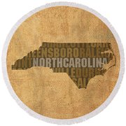 North Carolina Word Art State Map On Canvas Round Beach Towel by Design Turnpike