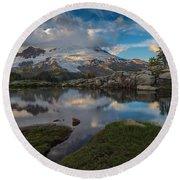 North Cascades Tarn Reflection Round Beach Towel