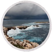 Wild Rocks At North Coast Of Minorca In Middle Of A Wild Sea With Stormy Clouds Round Beach Towel