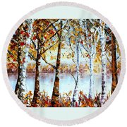 North Country Lake Superior Birch Trees Early Autumn Round Beach Towel