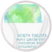 North Dakota - Peace Garden State - Flickertail State -  Roughrider - Map - State Phrase - Geology Round Beach Towel