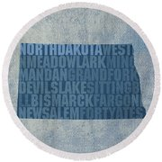North Dakota Word Art State Map On Canvas Round Beach Towel