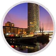 North Dock In Canary Wharf. Round Beach Towel