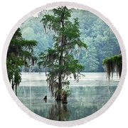 North Florida Cypress Swamp Round Beach Towel
