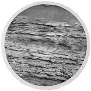North Fork Of The Flathead River Montana Bw Round Beach Towel