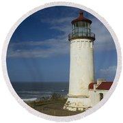 North Head Lighthouse 1 D Round Beach Towel