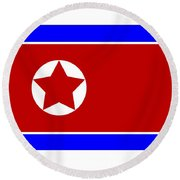 North Korea Flag Round Beach Towel