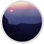 North Rim Grand Canyon Sunrise Light On Rock Formations Arizona  Round Beach Towel