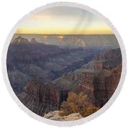 North Rim Sunrise Panorama 2 - Grand Canyon National Park - Arizona Round Beach Towel