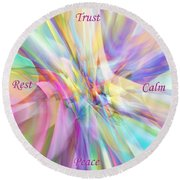 North South East West Round Beach Towel