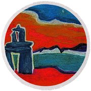 North Story Inukshuk By Jrr Round Beach Towel