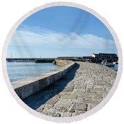 North Wall - Lyme Regis Harbour 2 Round Beach Towel