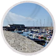 North Wall - Lyme Regis Harbour Round Beach Towel