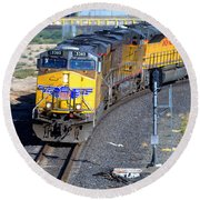 Northbound From Roseville At The Crooked Bridge Round Beach Towel