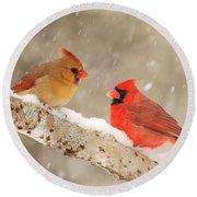 Northern Cardinals Round Beach Towel