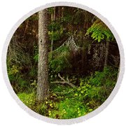 Northern Forest 1 Round Beach Towel