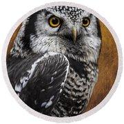 Northern Hawk Owl Round Beach Towel