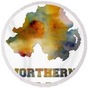 Northern Ireland Watercolor  Map Round Beach Towel
