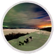 Northern Lights And City Light Pollution Night Sky Round Beach Towel