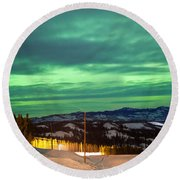 Northern Lights Aurora Borealis Over Rural Winter Round Beach Towel