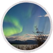 Northern Lights Full Moon Over Lake Laberge Yukon Round Beach Towel
