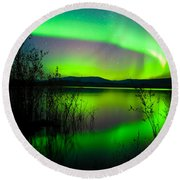 Northern Lights Mirrored On Lake Round Beach Towel