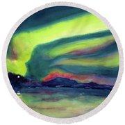 Northern Lights On Superior Shores Round Beach Towel
