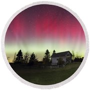 Northern Lights Over Foster Covered  Bridge Cabot Vt Round Beach Towel