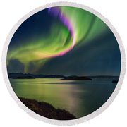 Northern Lights Over Thingvallavatn Or Round Beach Towel
