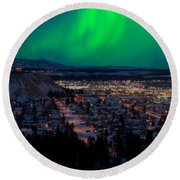 Northern Lights Over Whitehorse Round Beach Towel