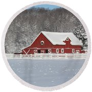 Northern Michigan Country Winter Round Beach Towel