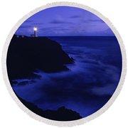 Northhead Ilwaco Lighthouse Washington Coastline Round Beach Towel