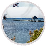 Northside Park Fishing Pier Round Beach Towel