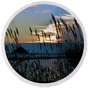 Ocean City Sunset At Northside Park Round Beach Towel