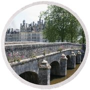 Northwest Facade Of The Chateau De Chambord Round Beach Towel